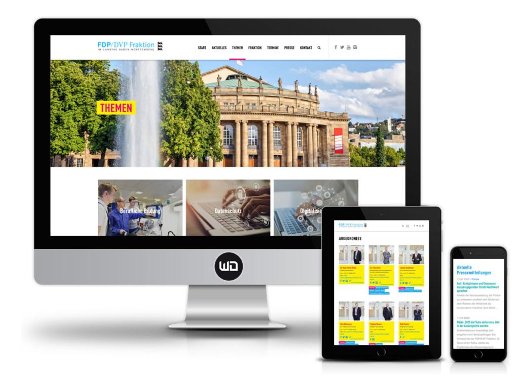 Responsive Webdesign für Partei FDP/DVP-Fraktion im Landtag von Baden-Württemberg